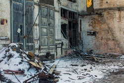 The territory of the abandoned factory in Kyiv in winter. Ukraine