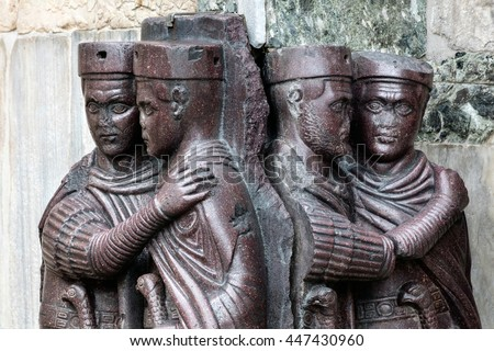 The Tetrarchs is 4th century porphyry sculpture representing Diocletian, Maximian, Valerian and Constance. Collectively they were the tetrarchs, appointed by Diocletian to help rule the Roman Empire. #447430960