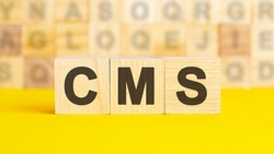 the text cms is written on wooden cubes on a bright yellow surface. In the background are rows of cubes with different letters. Business concept. cms - short for Content Management System