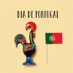 the text Dia de Portugal, the national day of Portugal written in Portuguese, a Rooster of Barcelos, the emblem of Portugal, and a Portuguese flag on a yellow background