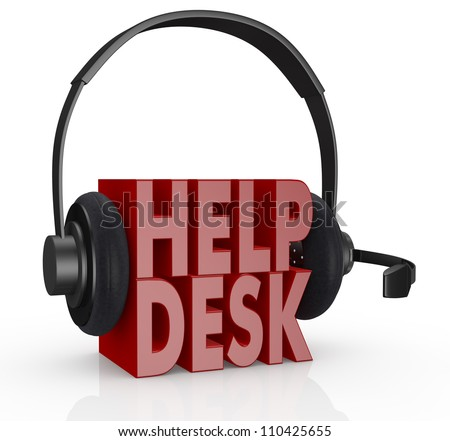the text help desk and headphones with a mic over it (3d render)