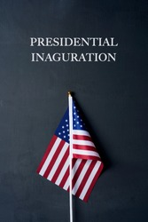 the text presidential inauguration and an american flag on a dark gray background