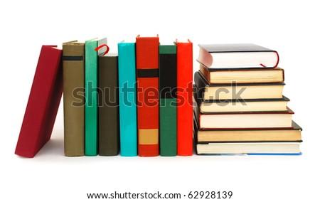 The textbooks on white table