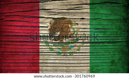 The texture of old wood (board).flag of Mexico.  old wood background. old, grunge wood panels used as background