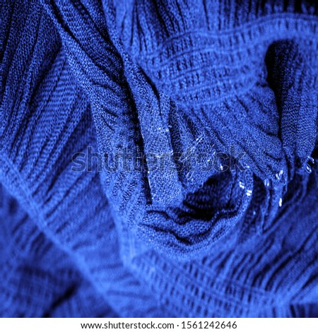 The texture of the background picture, the ornament of the decor, sapphire blue corrugated fabric, fabric with parallel or diagonal folds with serrated folds #1561242646