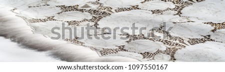 the texture of the skin with embossed floral pattern. abstract vintage leather floral pattern. Leather floral pattern background.  #1097550167