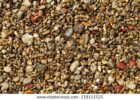 The texture of wet multicolored sea pebbles