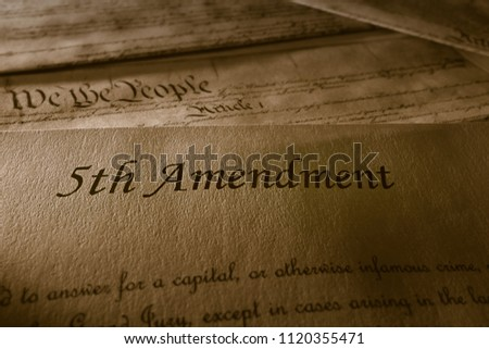 The 5th Amendment with US Constitution in the background                                Photo stock ©