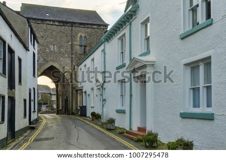 The 14th century priory gatehouse in Cartmel, Cumbria, Northern England Stock photo ©