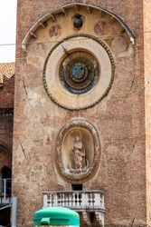 The 15th-century Torre del'Orologio or Clock Tower with astronomical clock in Mantova or Mantua, Lombardy, Italy