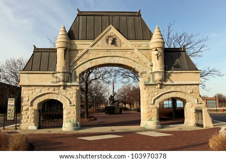 The 19th century Union Stock Yards Gate in Chicago was the entrance to the meat packing industry of another era.