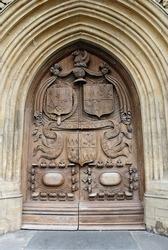 The 16th-century West Door of the 7th century Bath Abbey parish church and former Benedictine monastery in Bath, Somerset, England, United Kingdom