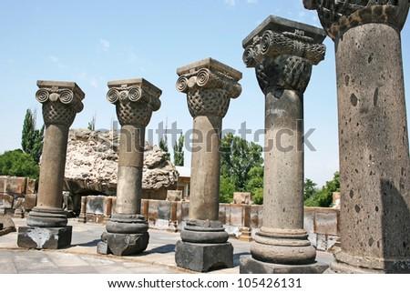 The 7th century Zvartnots Cathedral ruins in  Armenia, UNESCO World Heritage Site.