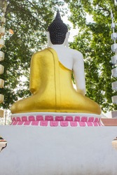 The thai buddha on the white backgroung