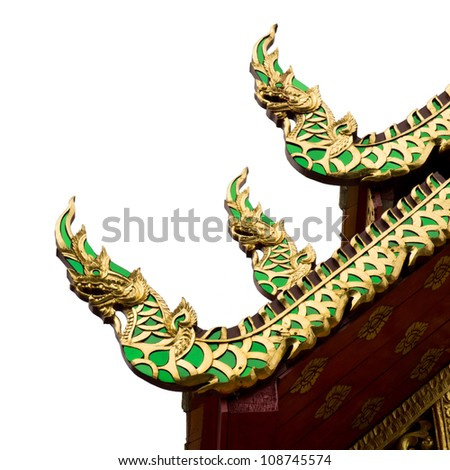 The Thai dragon craft on temple roof