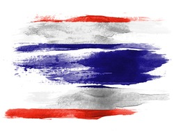 The Thai flag painted on white paper with watercolor