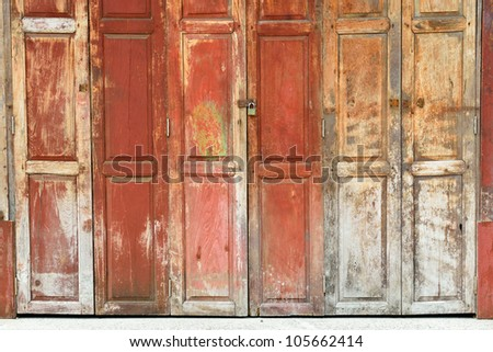 The Thai style vintage wooden door.
