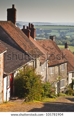 The thatched houses of Gold Hill in Shaftesbury, Dorset.