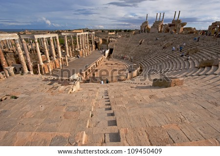 The Theater at the spectacular ruins of Leptis Magna near Al Khums, Libya