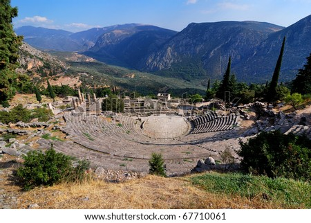 The theater from Delphi, seen from above, Greece
