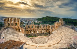 The theater of Herodion Atticus under the ruins of Acropolis, Athens, Greece.