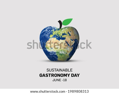 The theme of Sustainable Gastronomy day. Day observed each year on June 18 across the globe. World Food Safety Day. 3D globe map isolated on an apple shape. Stok fotoğraf ©