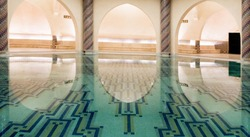 The thermas of the Hassan II mosque in Morocco. water is a very  important element for the islam. During Ramadan, muslim people go to the thermas.