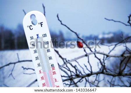 The thermometer outside during the winter.