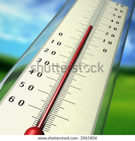 The thermometer shows temperature of air