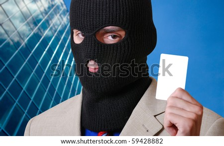 The thief is holding credit card