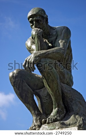The Thinker(1880-1882) by Auguste Rodin, sits outside the Rodin museum in the sculpture garden, Paris