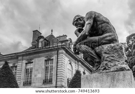 The Thinker (Le Penseur) - bronze sculpture by Auguste Rodin (1880—1882), Paris. France
