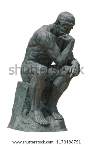 The Thinker RODIN isolated on white background. This has clipping path.
