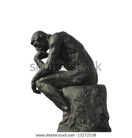 the thinker sculpture on a yellow gradient