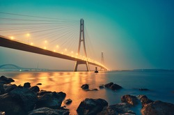 The Third Nanjing Yangtze River Bridge at Sunset