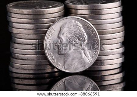 The Thomas Jefferson head Nickel, with his home, Monticello on the reverse