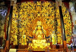 The thousand-hand guanyin bodhisattva in the dazu rock carvings in sichuan province was built between 1174 and 1252, a world heritage site.In sichuan, China