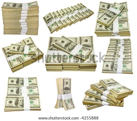 the thousands US dollars heaps isolated on white background