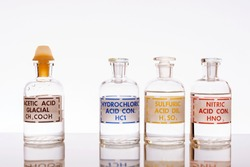 The three common inorganic acids and the most common organic acid using in chemistry: hydrochloric, sulfuric, nitric and acetic.