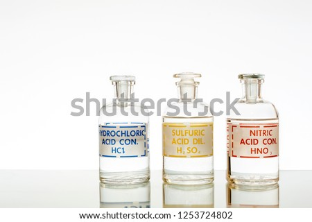 The three common mineral acids using in chemistry, hydrochloric, sulfuric and nitric.