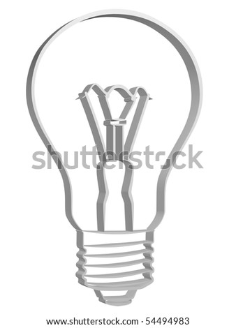 The three-dimensional image of an electric incandescent lamp