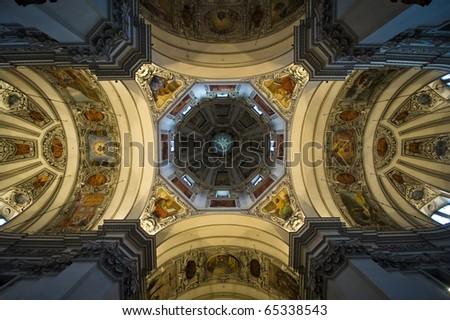 The three domes of St. Rupert in Salzburg Austria.