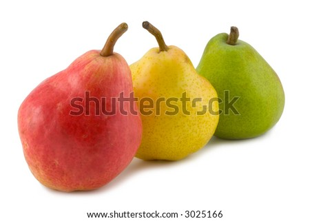 the three full pears isolated on white background