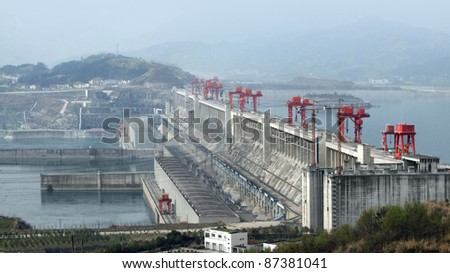 the Three Gorges Dam at Yangtze River in China at evening time