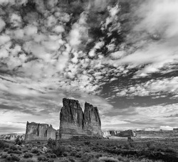 The Three Gossips and Courthouse Towers in Arches National Park within Grand County of Utah state in the US of America