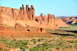 The Three Gossips, one of the statuesque formation near Arches National Park, Moab, Utah, U.S.A