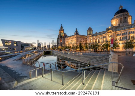 The Three Graces on Liverpool\'s Pier Head watefront