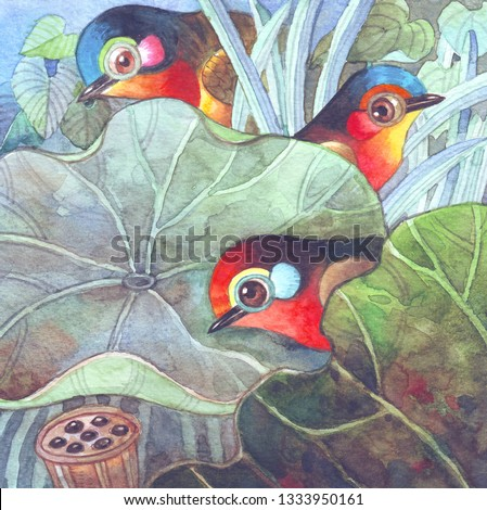 The three little cute birds.Hand drawn watercolor painting.For birds cartoon illustration,nature illustration,animals illustration,background,wallpaper,greeting cards,decoration,clip arts,pattern.