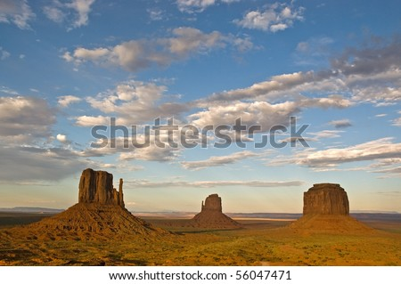 The three mittens at sunset in Monument Valley, Utah.