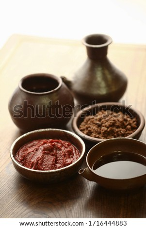 The three most basic sauces of Korean food soybean paste, soy sauce, and red pepper paste.